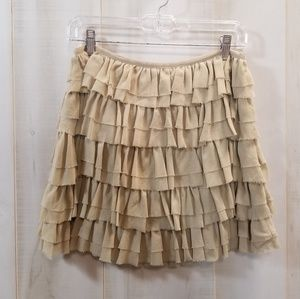 Michael Kors Khaki Tan 100% Silk Ruffle Skirt 2P